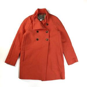 J Crew Persimmon Orange Double-cloth Bonbon Coat